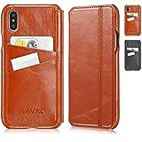 KAVAJ Lederhülle Dallas (Modell 2018) geeignet für Apple iPhone XS/X Cognac-Braun, Unterstützt kabelloses Laden (Qi), Hülle Ledertasche mit Kartenfach Echtleder Schutzhülle