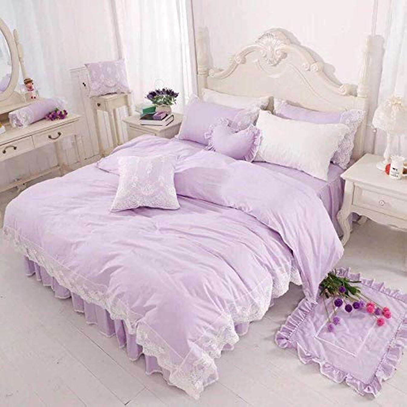 の間で完璧変形するA-4寝具カバー ベッド用品布団カバー 枕カバー シーツ3-4点セット大人気 (パープル, セミダブル)