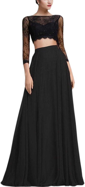 Dearta Women's ALine Two Pieces Scoop Floor Length 3 4 Sleeves Prom Dresses