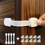 Cabinet Locks Child Safety Strap Locks (4+10 Pack) Adjustable Baby Locks for Cabinets, Fridge, Drawers, Dishwasher, Cupboard, Oven, No Drilling Needed