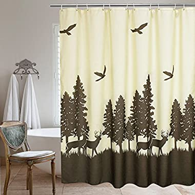 UFRIDAY Fabric Shower Curtain Natural Theme by, Mildew-Resistant Waterproof,with Lead Weight, Deer in the Forest Design,72 x 72 inchs, Yellow and Brown