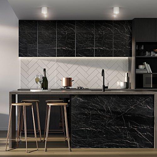iKINLO 61 x 500 cm Schwarz Marmor Klebefolie Aufkleber Selbstklebende Möbelfolie PVC Wasserdicht Marmorfolie Granit Küchenfolie DIY Dekofolie Tapete für Schlafzimmer Küche Schrank Tisch