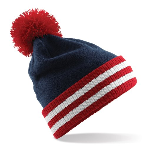 Beechfield Varsity Mens Winter Beanie Hat (One Size) (Light Gray/Black/White)