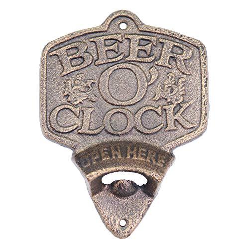 Primus PC5802 Flaschenöffner zur Wandmontage, Gusseisen, rustikales Vintage-Design (Bier O'Clock)