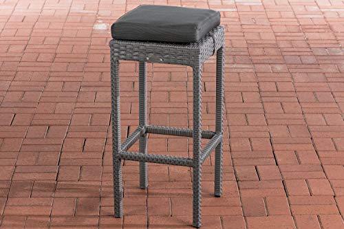 CLP Polyrattan Garten Barhocker Alia Mit Sitzkissen I Barstuhl Mit Aluminiumgestell I Sitzhöhe 75 cm, Sitzfläche 37 x 37 cm, Farbe:grau, Polsterfarbe:Anthrazit