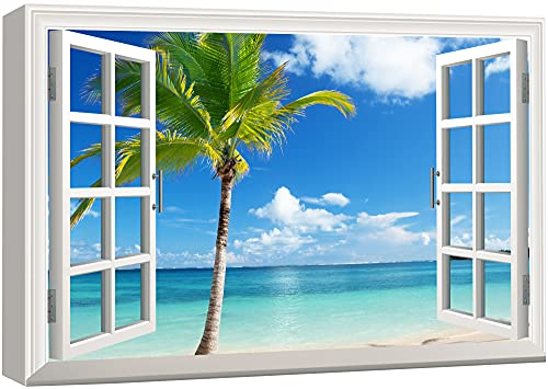 Canvas Print Wall Art - Window Frame Style Wall Art - Beautiful Scenery/Landscape Palm Tree on Tropical Beach   Giclee Print Gallery Wrap Modern Home Decor. Stretched & Ready to Hang - 24 x36