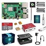 LABISTS Raspberry Pi 4 Modèle B (4 B) 4Go Kit avec 64 Go Carte Micro SD Classe 10, Boîtier Noir Amélioré, 5,1V 3A Alimentation Interrupteur Marche/Arrêt, Ventilateur, 2 Câble Micro HDMI, 3 Dissipateur