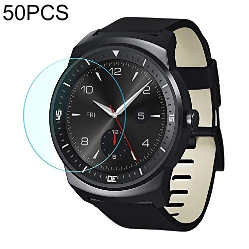 LPER Armbanduhr Displayschutzfolie Screen Protection 50 PCS for LG G Watch R W110 0.26mm 2.5D Ausgeglichenes Glas Film