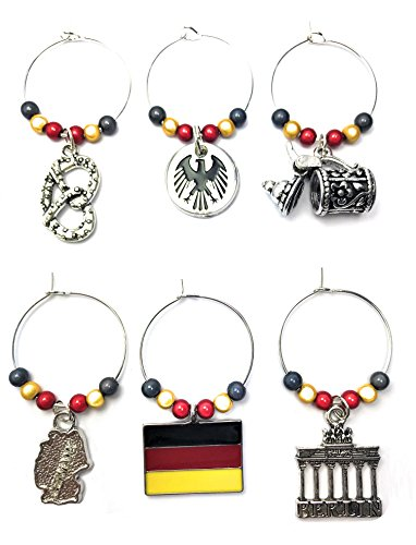 Set de 6Alemania/Deutschland Copa de vino encantos con bolsa de regalo de terciopelo hecho a mano por Libby 's Market Place