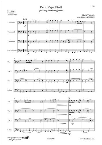 KLASSICHE NOTEN NOTEN - Petit Papa Noël - TRADITIONAL - Trombone Quartet