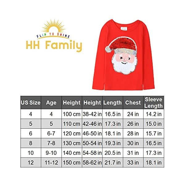 HH Family Christmas Shirts for Girls and Boys Flip Sequin Santa Christmas Tree Kids T-Shirt Clothing