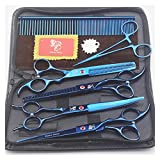 Tijeras para el cabello, Tijeras de mascotas de dientes de colchón de pez, tijeras de corte de pelo de 7 pulgadas y gato, corte de pelo de animales, herramientas de peluquería Kits de corte de cabello