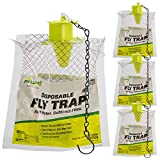 SEWANTA Outdoor Disposable Hanging Fly Traps [Set of 4] Rescue! Non-Toxic Fly Traps, Solution for Outdoor Fly Problem - USA Made, Bundled with 4 Hanging Chains