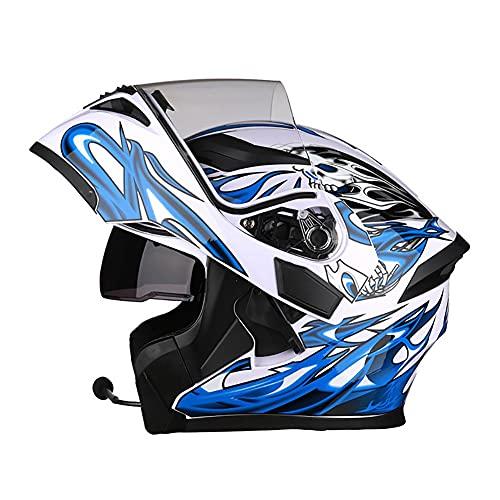 Cascos Moto Modular Bluetooth Incorporado Casco Integral Flip Up Helmet ECE Aprobado Casco Scooter con Doble Visera Anti Vaho para Hombre Mujer Casco de Motocicleta 57~63cm