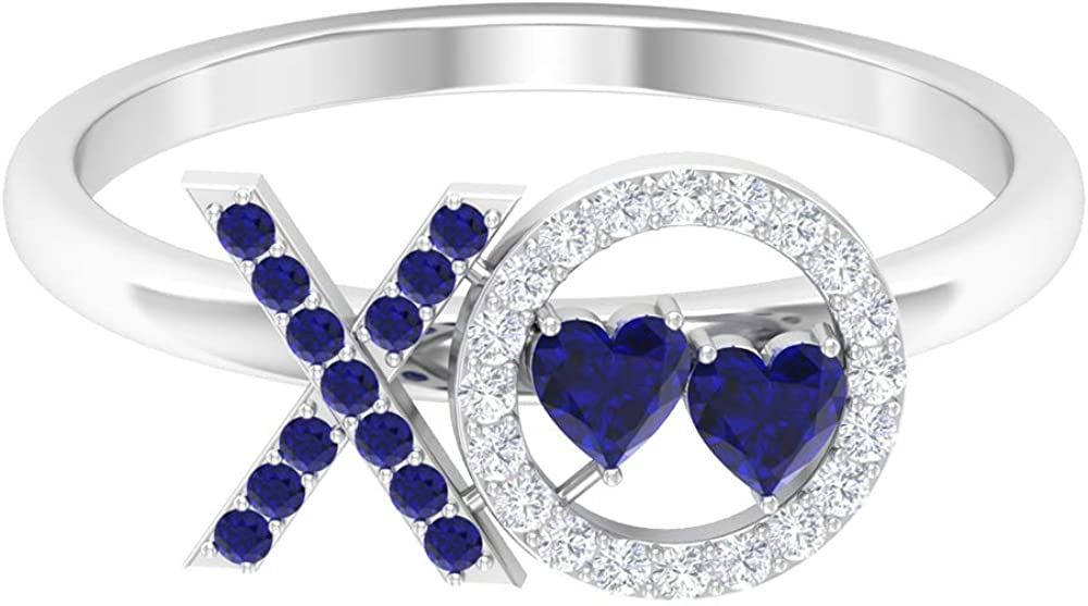 XO Ring, 1/2 CT Blue Sapphire and Diamond Ring, Simple Gold Ring, 14K White Gold, Size:US 9.0