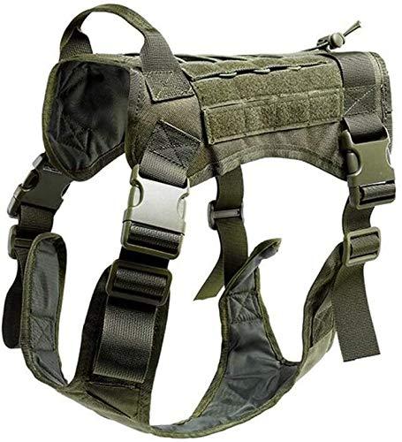 Coole atletiek 1000D nylon hond modulaire tactische vest harnas zoektocht naar een baan Moore, clip voordat papier geen rechtshandhaving training hjm zhanshubeixin (Color : Green, Size : L)