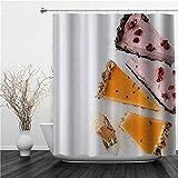 AIMILUX Duschvorhang 180x180cm,Kuchen leckere Schokoladen Mango Pudding Cranberry,Duschvorhang Wasserabweisend-Duschvorhangringen 12 Shower Curtain mit