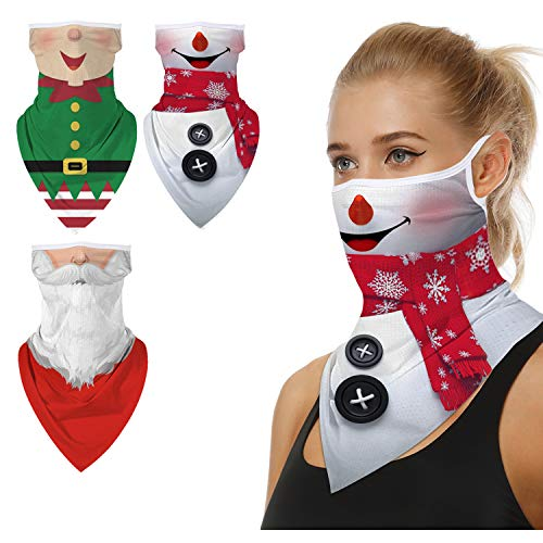 Ainuno Christmas Mask for Women Men Adults Funny Xmas Face Covering Mask,Christmas Gaiter with Ear Loops Fun Santa Mask Santa Claus Snowman Elf Mask Elves Printed Ugly Christmas Costume Accessories