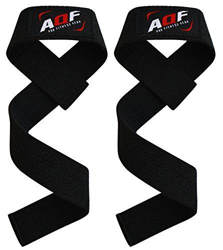 AQF Fasce da Palestra Sollevamento Pesi, Crossfit Senza Imbottitura Allenamento Supporto al Polso Fasce a Supporto Bodybuilding Powerlifting Fitness Fettuccia per Presa della Barra (Nero)