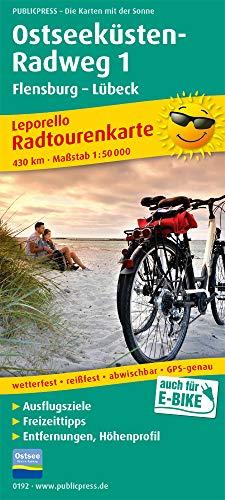 Ostseeküsten-Radweg 1. Flensburg - Lübeck 1 : 50 000: Leporello Radtourenkarte mit Ausflugszielen, Einkehr- & Freizeittipps, wetterfest, reissfest, abwischbar, GPS-genau. 1:5000