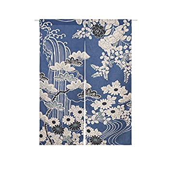 BAIHT HOME Cotton Linen Printed Japanese Noren Doorway Curtain and Window Treatment Curtains 33.5  Width x 47.2  Long  Chrysanthemum