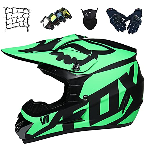 Aidasone Casco Moto Niños, YEDIA-01 Casco Motocross Jóvenes Adultos con Diseño Fox, Casco Moto Todoterreno Integral para MTB Enduro Descenso con Gafas/Guantes/Máscaras/Red Bungy,L