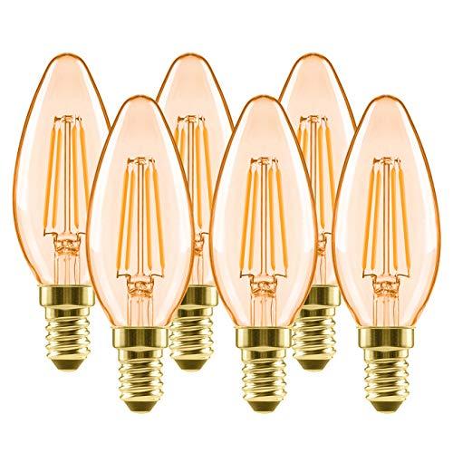 6x Bombillas Vintage Vela LED E14 (Casquillo Fino) 4W, Bombilla Edison Retro de Blanco Cálido 2500K, Bomilla LED con Filamento, Equivalente a 40W, 410lm - LVWIT.