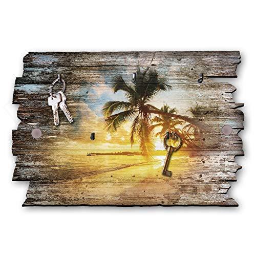 Kreative Feder Palmenstrand Designer Schlüsselbrett, Hakenleiste Landhaus Style, Shabby aus Holz 30x20cm, HSB002