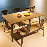 Merax Antique Style Rectangular Dining Table with Metal Legs 59''x 36'', Distressed Black, Only Table, Not Include Bench or Chairs