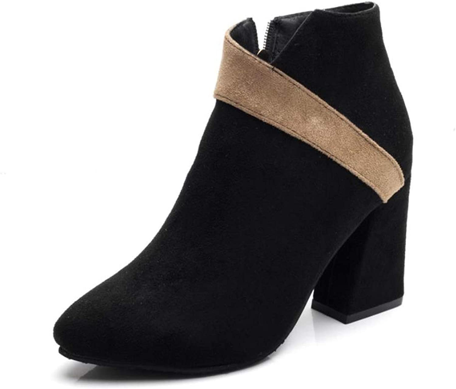 IINFINE Boots for Women Ankle Winter Low Heel Western Side Zipper Pointed Toe Solid color