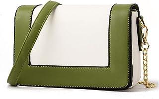 Shoulder Bag Women's Shoulder Bag Mini Summer Handbag Leather Bag Square Package Handbag Clutch (Color : Green, Size : S)