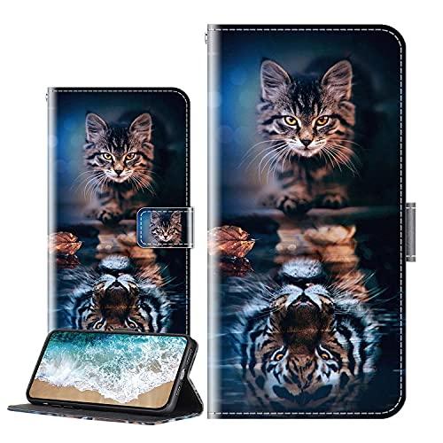 Cherfucome Handytasche Kompatibel mit LG K52 Hülle Leder Tasche Brieftasche Flip Hülle Cover LG K52 Handyhülle Ledertasche Lederhülle Schutzhülle [C01*Schönheitstier]
