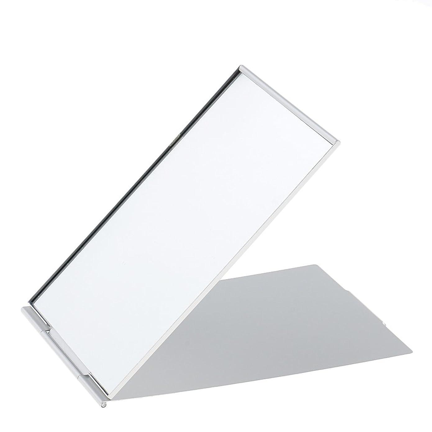 二週間スチュワーデス内なるPerfk メイクアップミラー 鏡 化粧鏡 ミニ ポータブル 折り畳み式 超軽量 シンプル ファッション デザイン シルバー 3サイズ選べる - #2