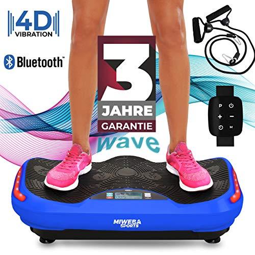 Miweba Sports Fitness 4D Wave Vibrationsplatte MV300 - Armband Fernbedienung - Wave Design - 800 Watt - Bluetooth Lautsprecher - Trainingsbänder - Led - große Trittfläche (Blau)