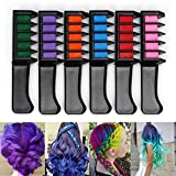 Pack of 6 Hair Chalk Color Highlight Dye Temporary Comb DIY Cosplay Festival Disposable Kit Washable