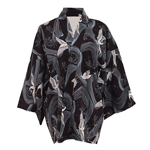 GRACEART Giapponese Yukata Stile Gru Stampare Chimono Cappotto Yukata Accappatoio