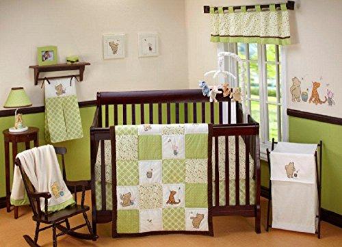 Disney Baby My Friend Pooh 4 Piece Nursery Crib Bedding Set, Green, Brown, White