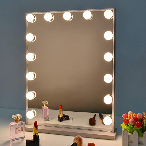 Nitin Hollywood Vanity Mirror With Lights Dimmable Tabletop Wall Cosmetic Lighted Makeup Beauty Mirror