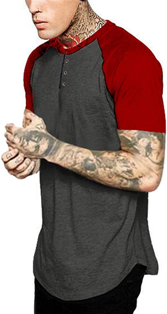 Astellarie Mens Casual Regular-Fit Breathable Cotton Henley T-Shirt Short Sleeves