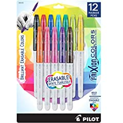 PILOT FRIXION COLORS MARKER PENS: This erasable bold point marker pen features Pilot's unique thermo-sensitive ink. No wear or tear so you can erase & rewrite until it's right without ruining the page. UNLIMITED DO-OVERS: With a convenient, non-rolli...