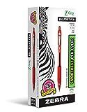 Zebra Pen Z-Grip Retractable Ballpoint Pen, Medium Point, 1.0mm, Red Ink, 12-Count