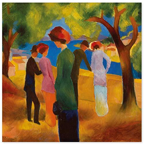 JUNIWORDS Poster, August Macke, Dame in grüner Jacke, 40 x 40 cm