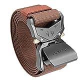 JUKMO Cinturón táctico, militar de senderismo Rigger 1.5 pulgadas de nailon con hebilla de liberación rápida resistente (Café, S-para Cintura 75cm-90cm (Longitud 115cm))