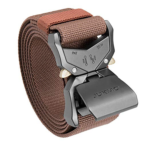"""JUKMO Tactical Belt, Military Hiking Rigger 1.5"""" Nylon Web Work Belt with Heavy Duty Quick Release Buckle (Coffee, Medium)"""