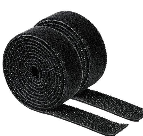 Sparset: 2x Hama Klettband Klett-Kabelbinder, universell, je 1 m (insgesamt 2x1m also 2m), schwarz