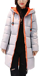 Zhhlaixing Women Winter Hooded Long Quilted Coat Padded Jacket - Colorful Zip Up Casual Warm Soft Outerwear