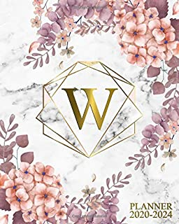 2020-2024 Planner: Marble & Gold Rose Floral Initial Monogram Letter W 5 Year Monthly Planner, Organizer and Agenda   Nifty Five-Year (60 Months ... Diary and Business Schedule Notebook.