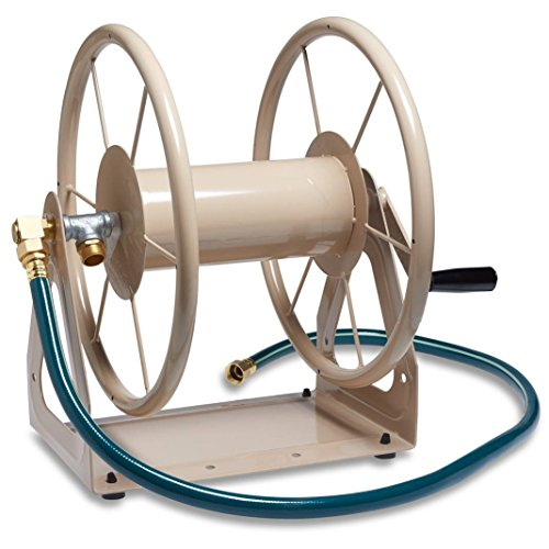 Liberty Garden 703-1 Multi-Purpose Steel Garden Wall/Floor Mount Hose Reel, Tan