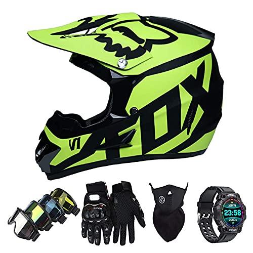 Casco Motocross Niño Set con Diseño FOX, Adulto y Juventud Integral Homologado Moto Cross Casco para Downhill ATV Enduro Off Road (Gafas+Máscara+Guantes+Reloj Inteligente) LXY-10