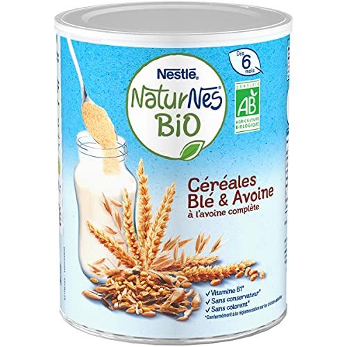 NESTLE Bébé - Naturnes BIO - Céréales Blé et Avoine complète - Dès 6 mois - Boîte 240g